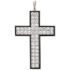Van Cleef & Arpels Art Deco Antique Diamond & Black Onyx Cross 1921