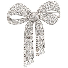 Important Art Deco Diamond Bow Brooch