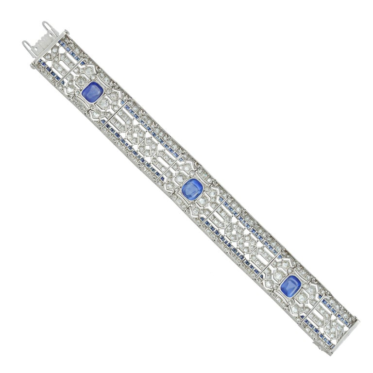 Important Art Deco Sapphire and Diamond Bracelet In Good Condition For Sale In London, GB