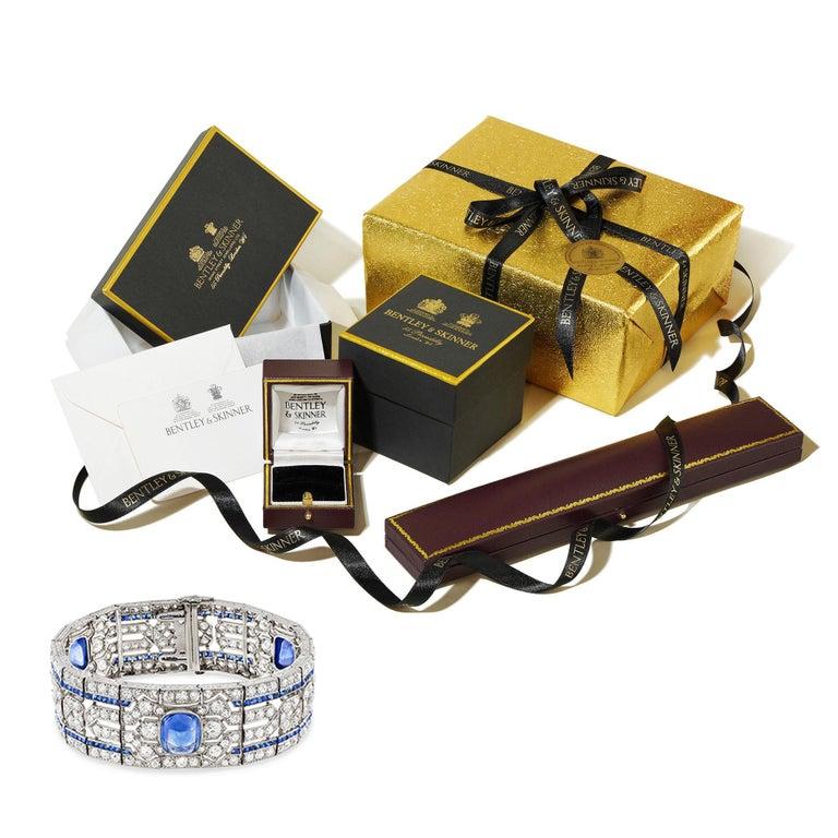 Women's or Men's Important Art Deco Sapphire and Diamond Bracelet For Sale