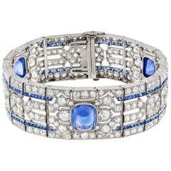 Important Art Deco Sapphire and Diamond Bracelet
