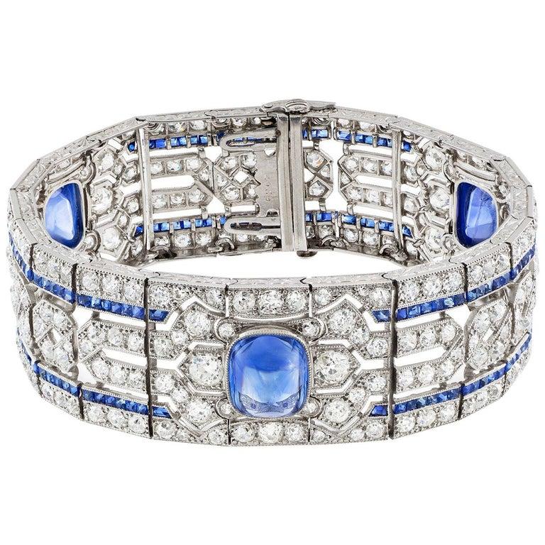 Important Art Deco Sapphire and Diamond Bracelet For Sale