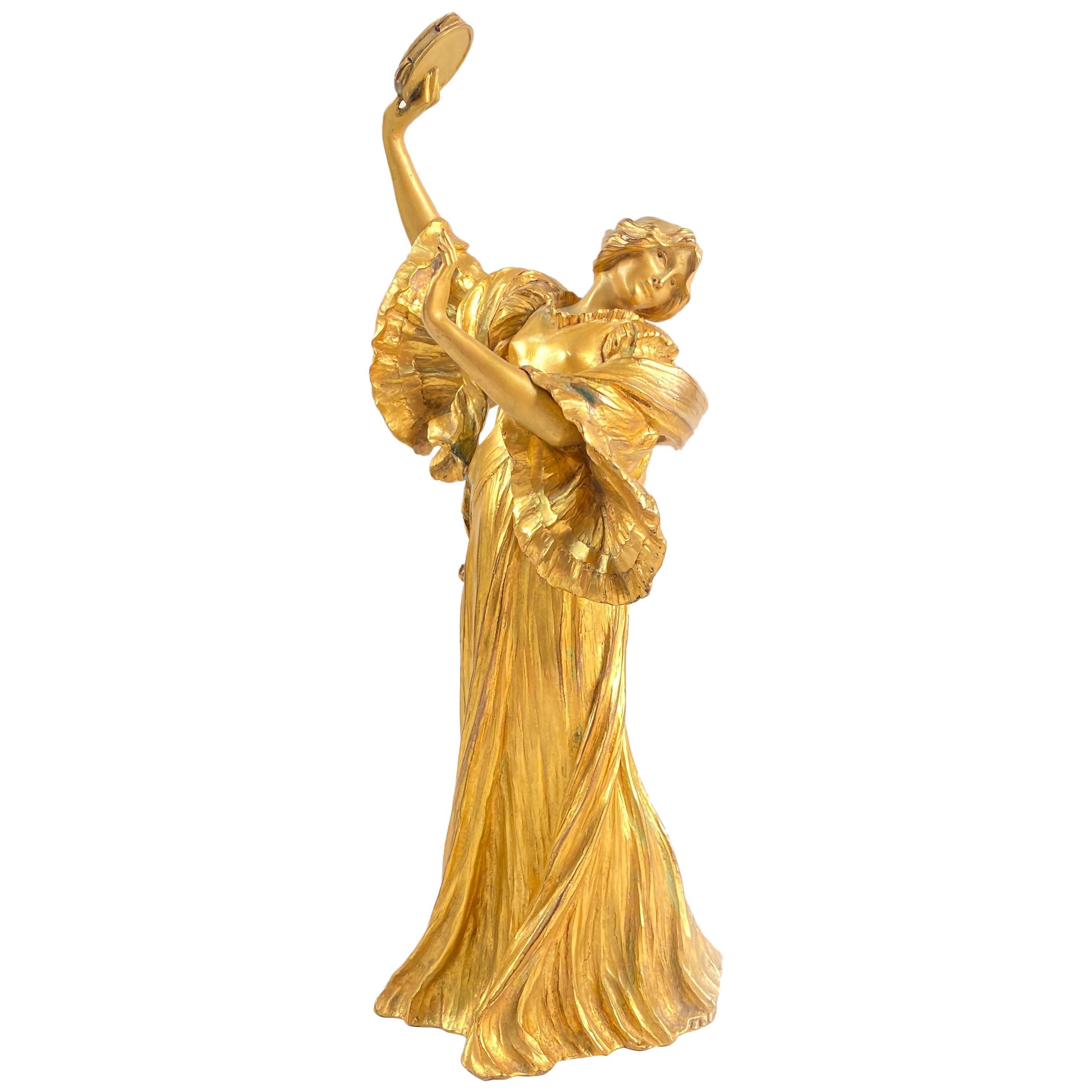 Important Art Nouveau Bronze Sculpture Tambourine Dancer by, Agathon Leonard