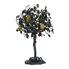 Important Art Nouveau Wrought Iron Lemon Tree Table Lamp