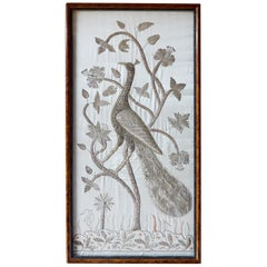 Important Asian Kalaga Style Silk Embroidery of Peacock