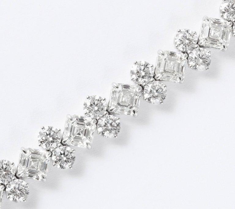 Contemporary Important Asscher Cut and Round Diamond Platinum Bracelet For Sale