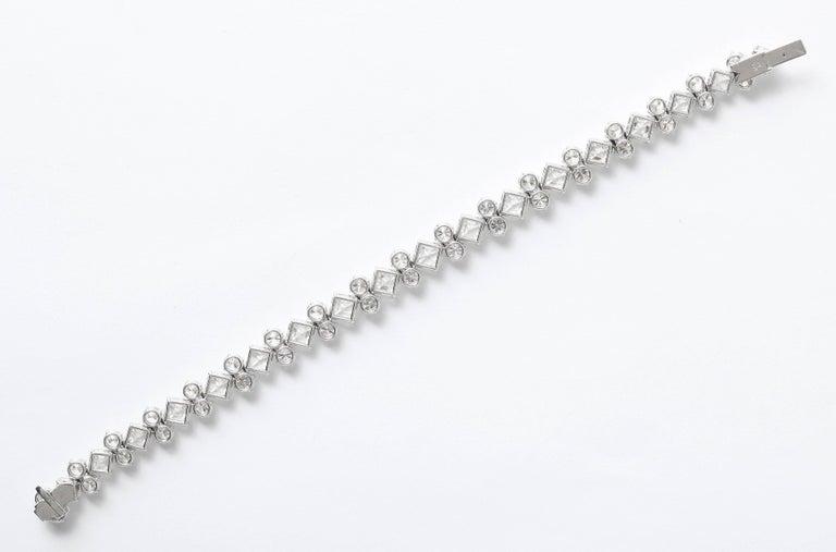 Women's or Men's Important Asscher Cut and Round Diamond Platinum Bracelet For Sale