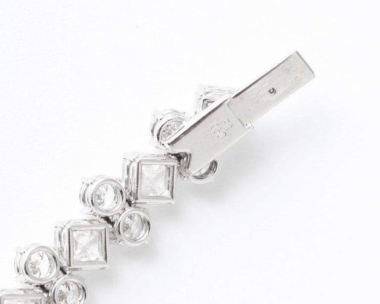 Important Asscher Cut and Round Diamond Platinum Bracelet For Sale 1