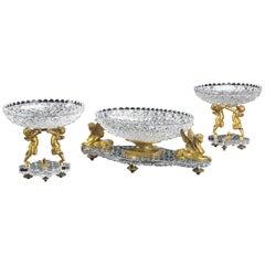 Important Baccarat Ormolu and Cut Crystal Three-Piece Garniture De Table