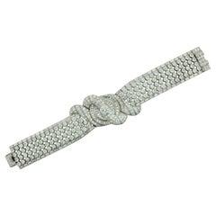 Important Blockbuster Diamond Bracelet in Platinum 54.00 Carats, Circa 1940's