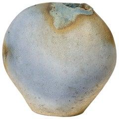 Important Blue Ceramic Sculpture Vase, circa 1970 French Ceramic