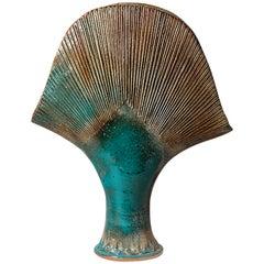 Important Blue Stoneware Ceramic Vase by Gustave Tiffoche, circa 1980