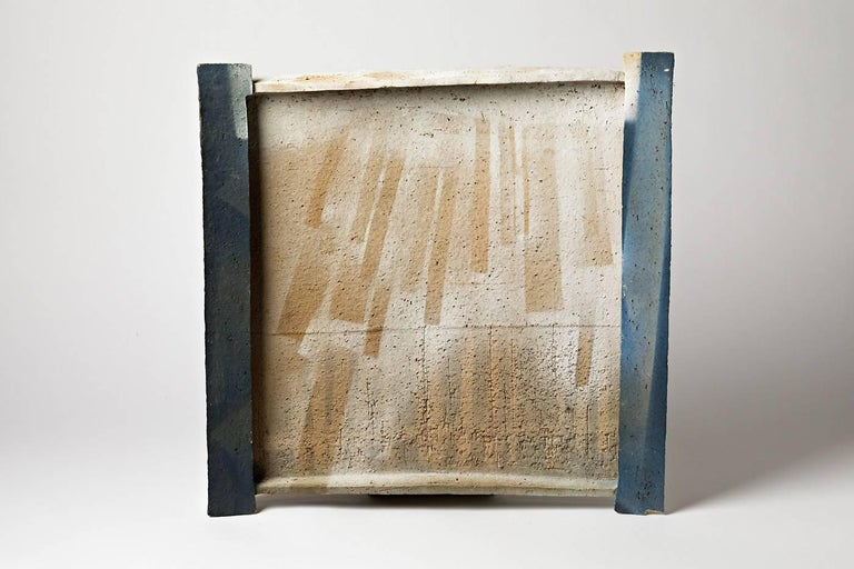 Important blue white Wall Ceramic Plate or Sculpture by Jacqueline Paul Dauphin In Good Condition For Sale In Neuilly-en- sancerre, FR