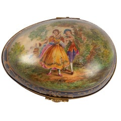 Important Box, Box 19th Century, Napoleon III Period, Porcelain and Brass