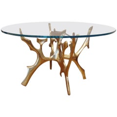 Important Bronze Table with Circular Glass Top by Fred Brouard