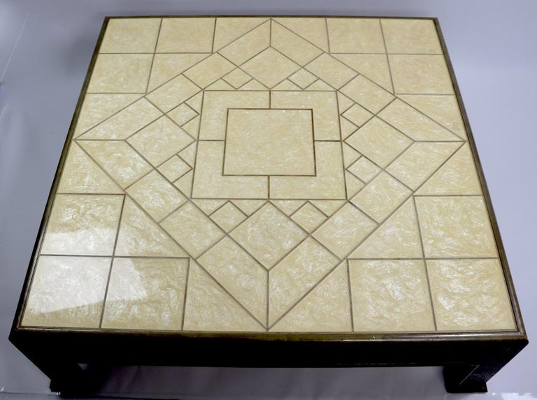 Brass Important Brutalist Coffee Table by Rodolfo Dubarry For Sale