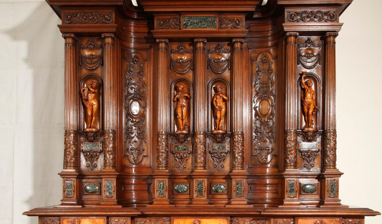 Renaissance Revival Important Cabinet with the 'Four Seasons' by Lerolle For Sale