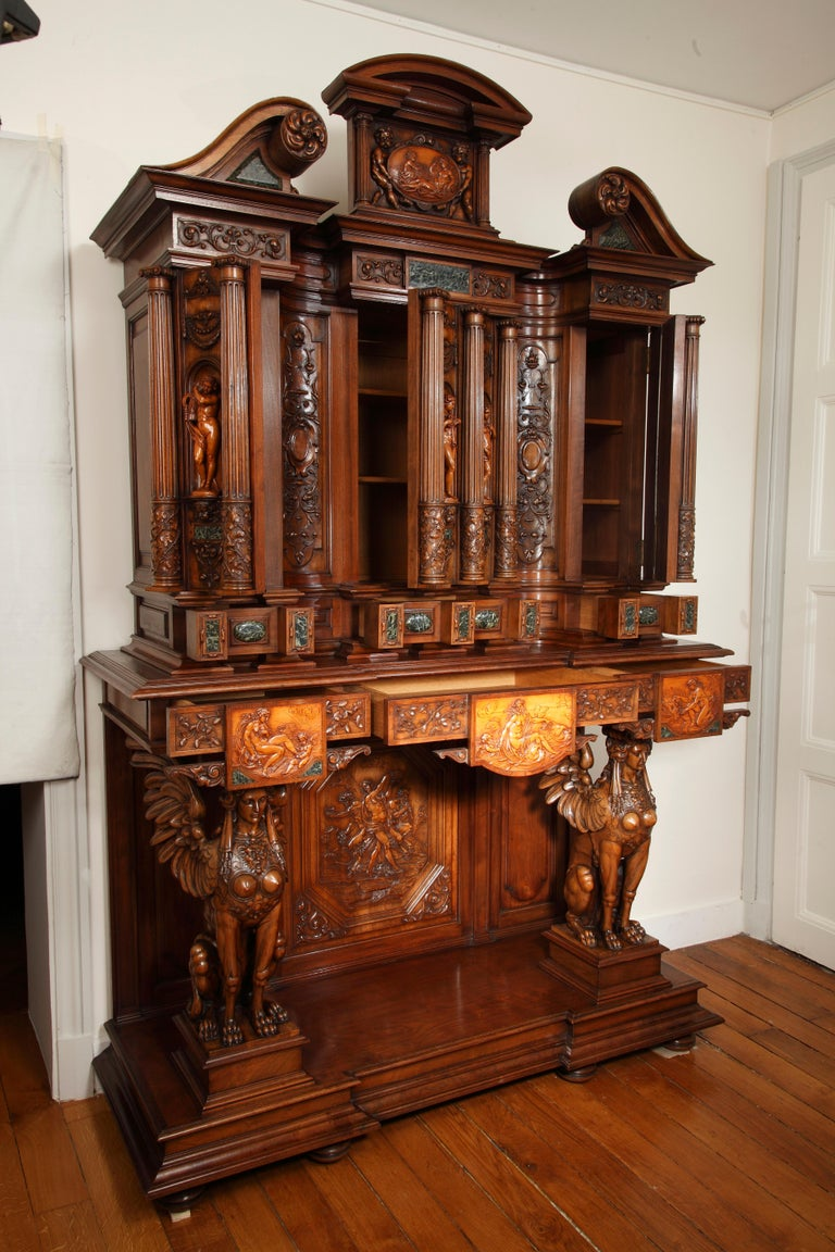 Carved Important Cabinet with the 'Four Seasons' by Lerolle For Sale