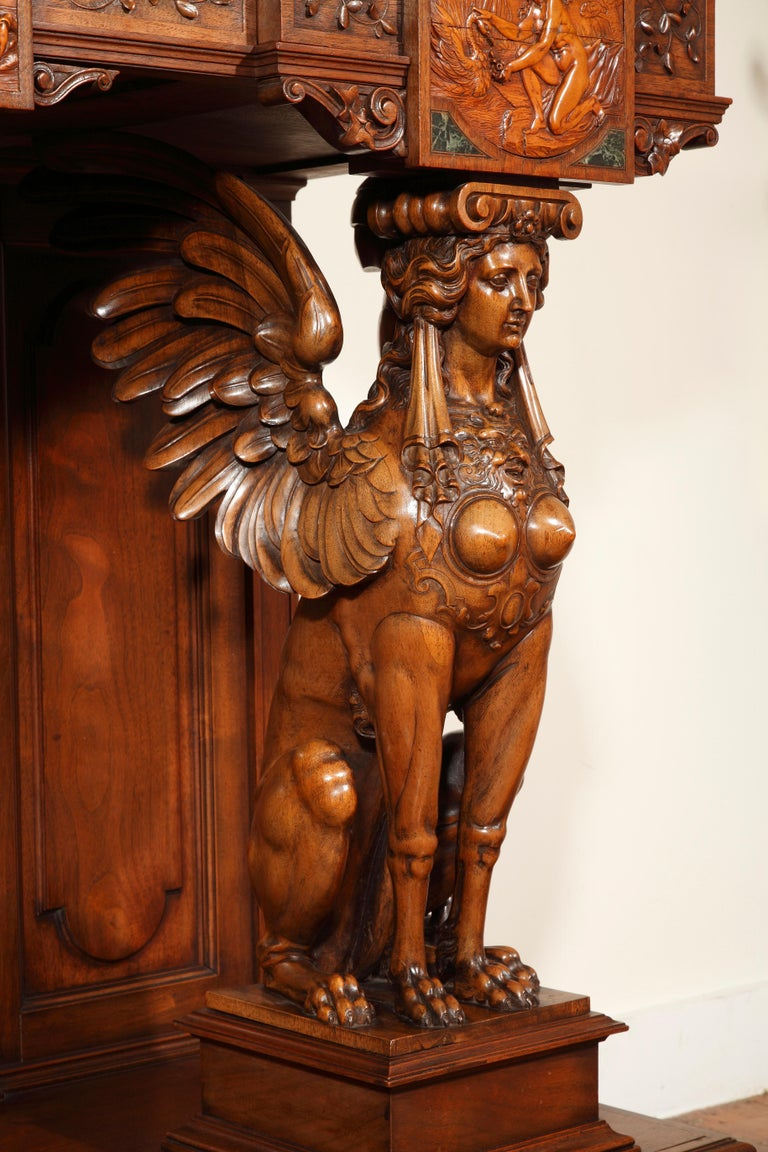 Important Cabinet with the 'Four Seasons' by Lerolle In Good Condition For Sale In PARIS, FR