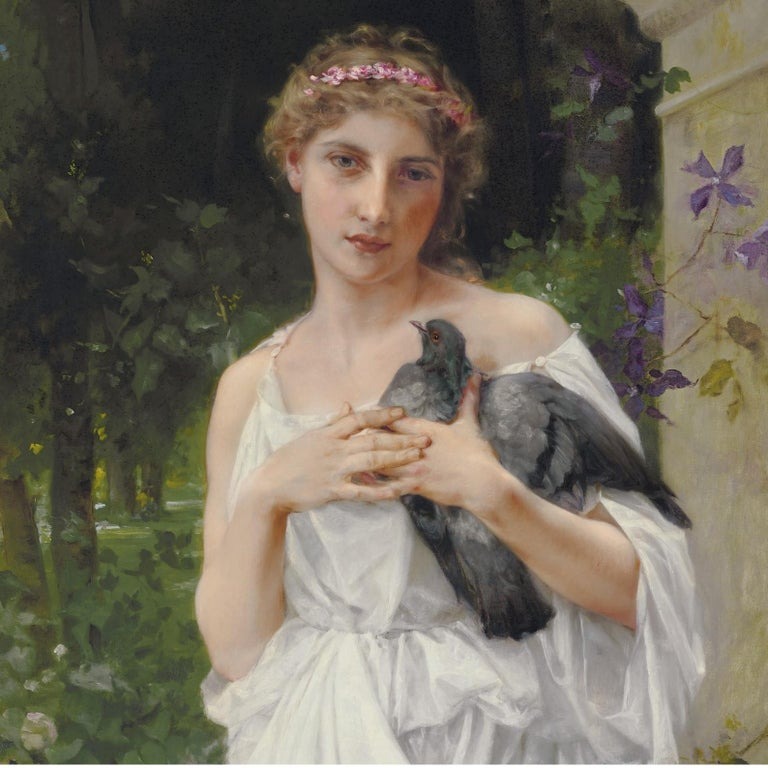 Important oil on canvas painting of a beautiful maiden dressed in white holding a dove. Signed and dated 'C-Pellicer-1902' in the lower left.  Titled