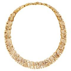 Important Cartier Diamond Elephant Necklace