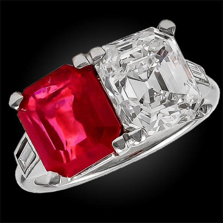 Important Cartier Emerald-Cut Diamond and Burma Ruby Ring In Good Condition For Sale In New York, NY