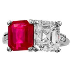 Important Cartier Emerald-Cut Diamond and Burma Ruby Ring