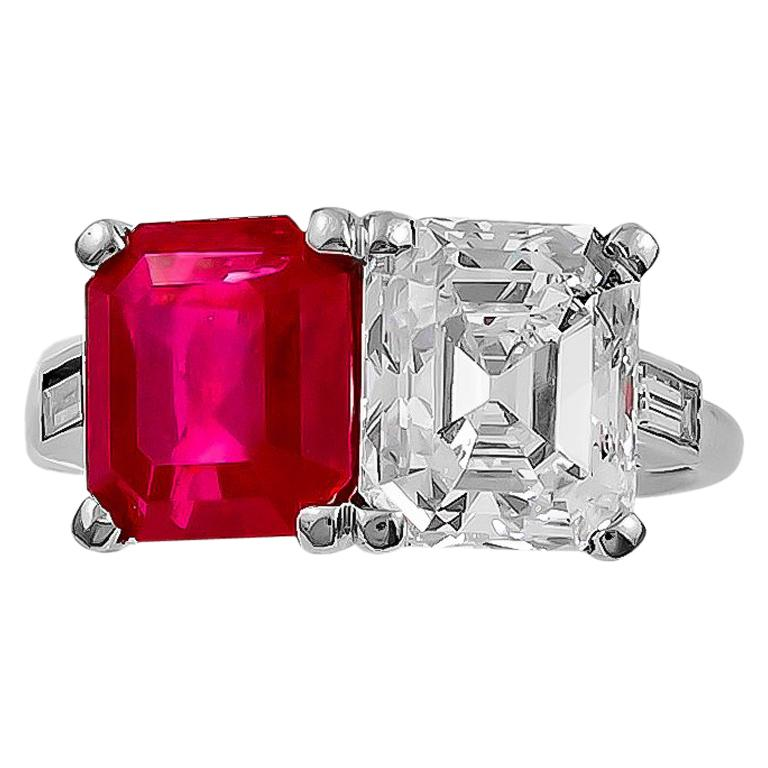 Important Cartier Emerald-Cut Diamond and Burma Ruby Ring For Sale
