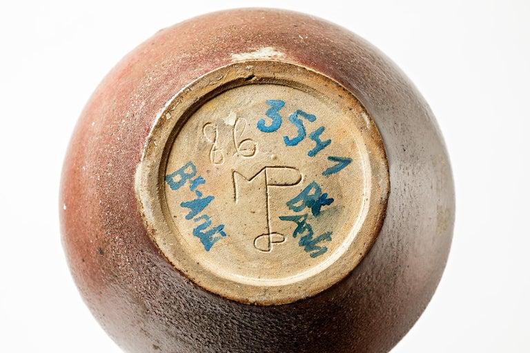 Important Ceramic Stoneware Sculpture Vase by Belgian Met De Penninghem For Sale 1