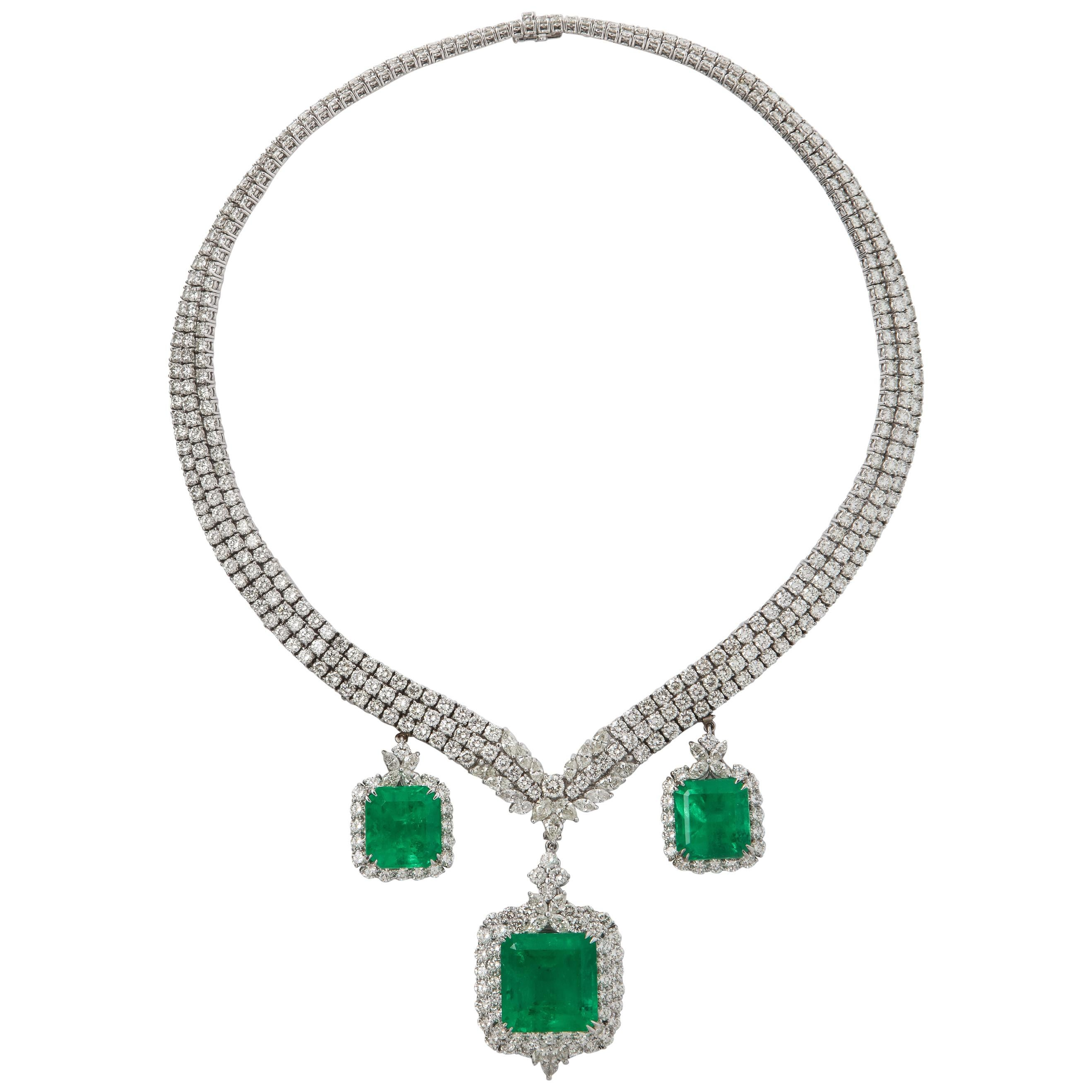 Certified Colombian Emerald and Diamond Necklace