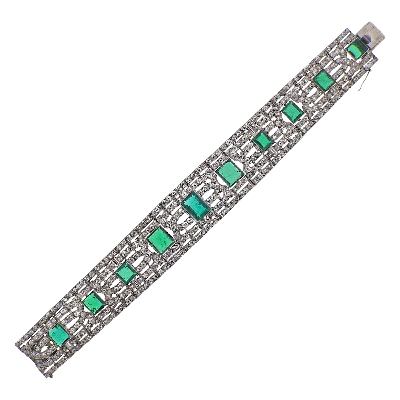 Important Certified Colombian Emerald Diamond Platinum Bracelet