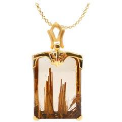 Important Certified Golden Rutile Quartz Pendant Necklace, Statement Piece