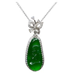 Important Certified Imperial Green Jade Monkey and Diamond Pendant Necklace