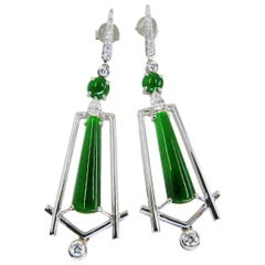 Important Certified Imperial Jade and Diamond Earrings, Best Imperial Green