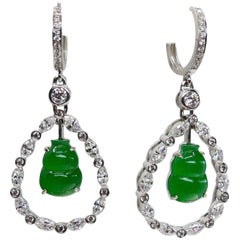 Important Certified Imperial Jade Gourd Diamond Earrings, Imperial Green Color