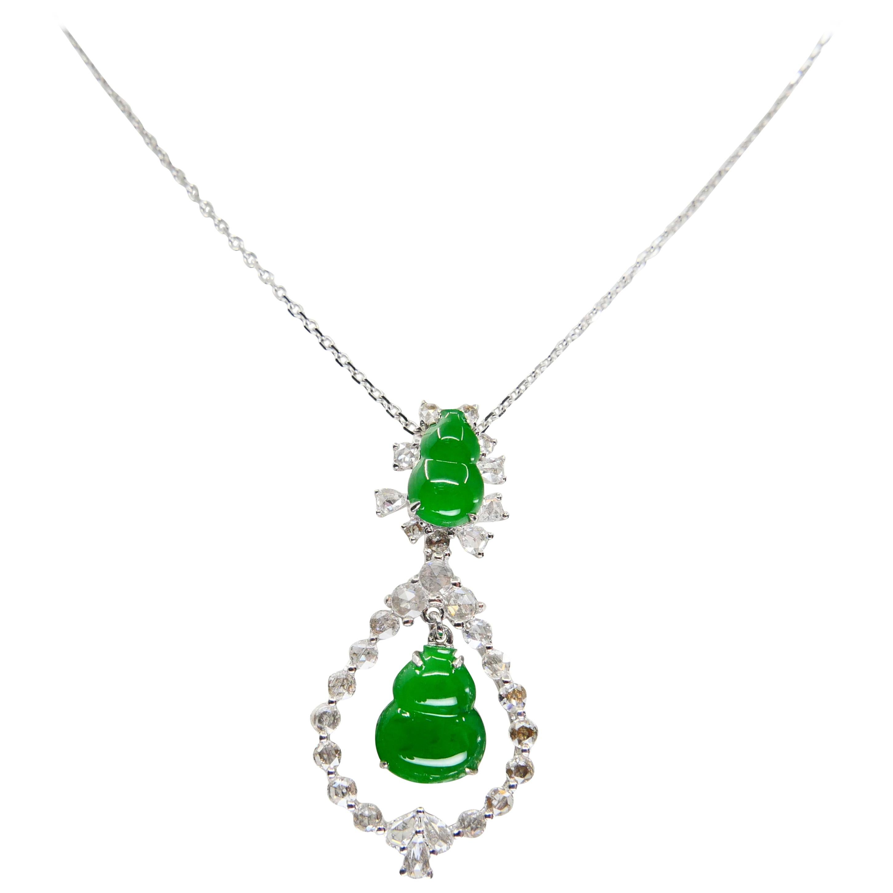 Important Certified Imperial Jade Gourd Diamond Pendant Necklace, Imperial Green