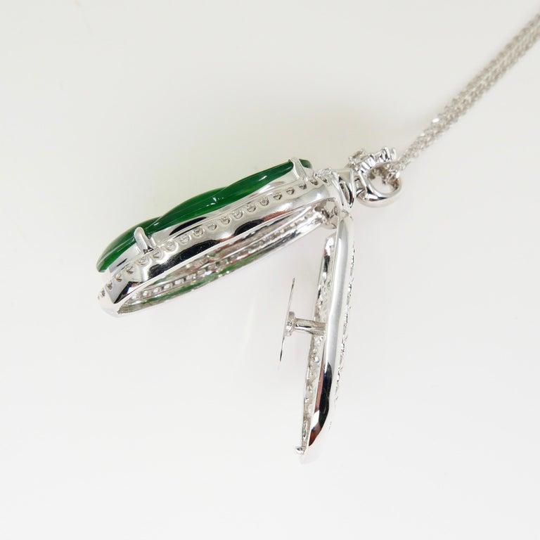 Important Certified Imperial Jadeite Jade & Diamond Pendant Necklace, Icy Jade For Sale 6