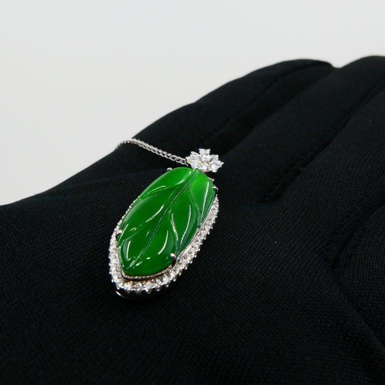 Important Certified Imperial Jadeite Jade & Diamond Pendant Necklace, Icy Jade For Sale 10