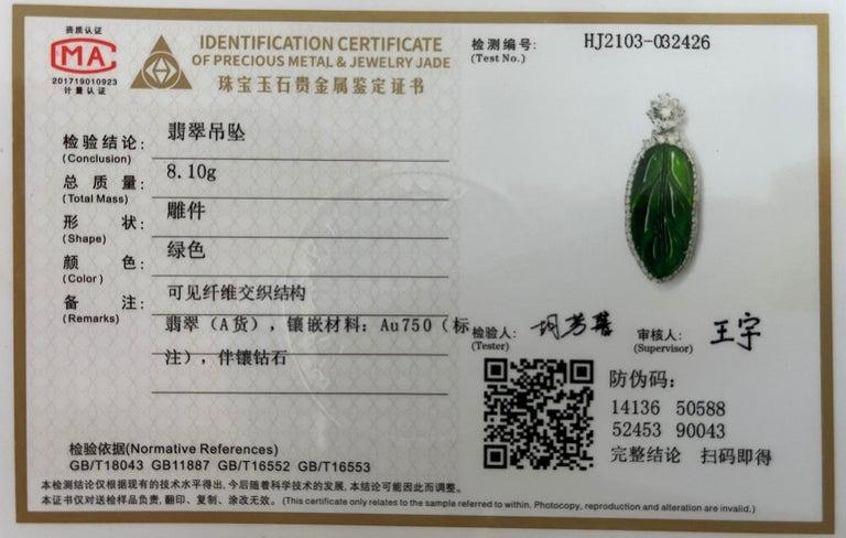 Important Certified Imperial Jadeite Jade & Diamond Pendant Necklace, Icy Jade For Sale 12