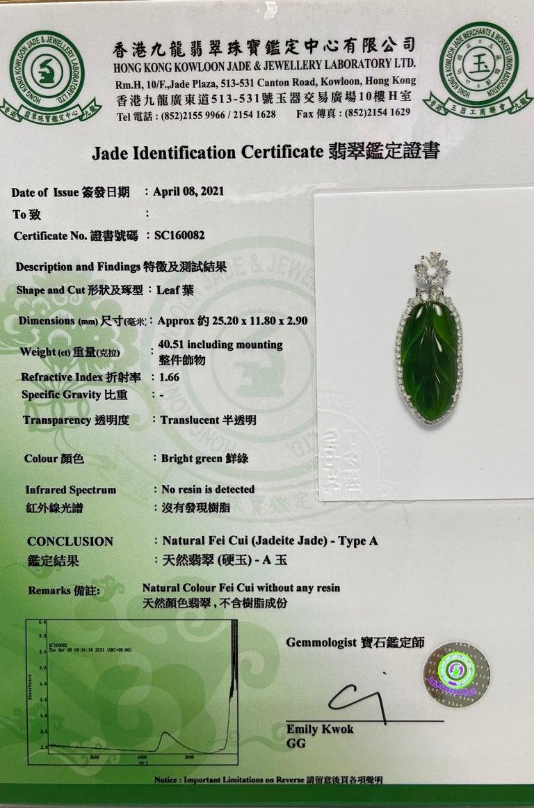 Important Certified Imperial Jadeite Jade & Diamond Pendant Necklace, Icy Jade For Sale 13