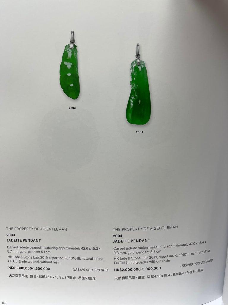 Important Certified Imperial Jadeite Jade & Diamond Pendant Necklace, Icy Jade For Sale 14