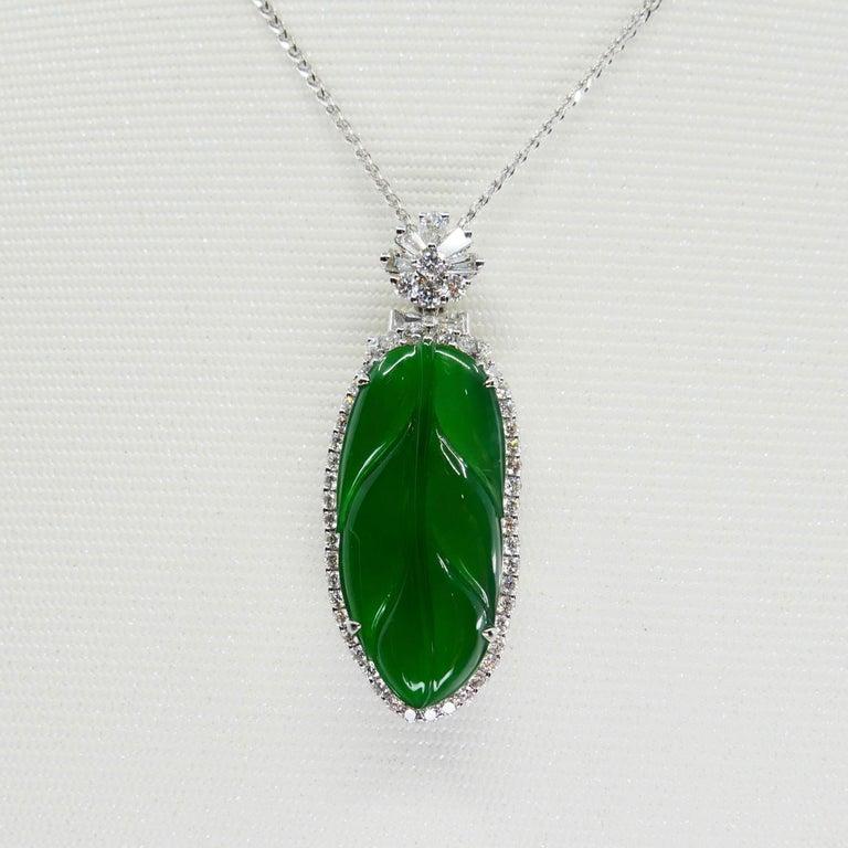 Women's Important Certified Imperial Jadeite Jade & Diamond Pendant Necklace, Icy Jade For Sale