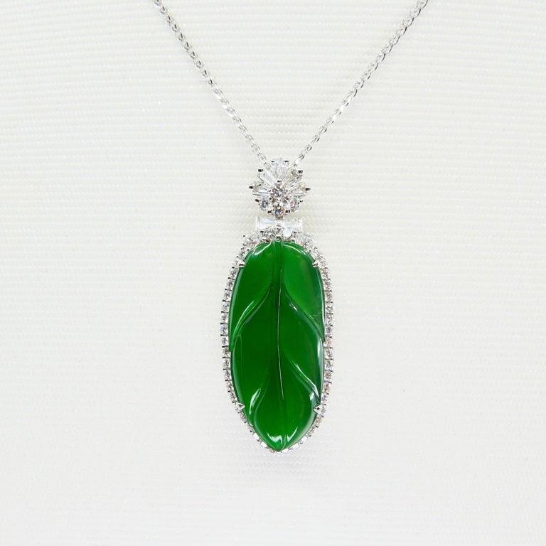 Important Certified Imperial Jadeite Jade & Diamond Pendant Necklace, Icy Jade For Sale 2