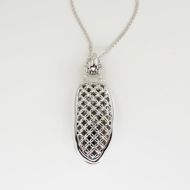 Important Certified Imperial Jadeite Jade & Diamond Pendant Necklace, Icy Jade For Sale 3