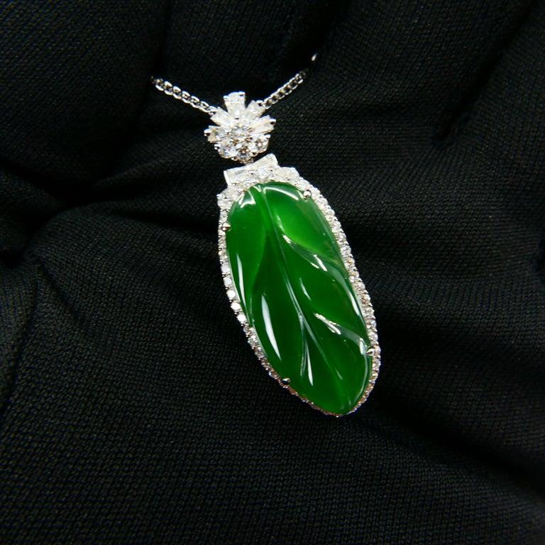 Important Certified Imperial Jadeite Jade & Diamond Pendant Necklace, Icy Jade For Sale 4
