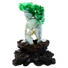 """Important Certified Natural Jadeite Jade Decoration, Titled """"New Born Dragon"""""""