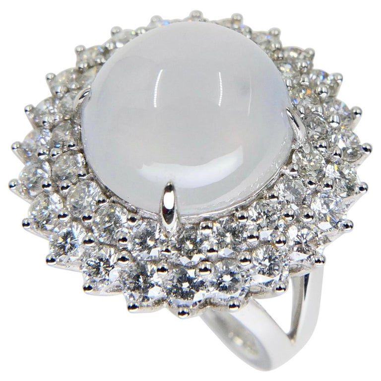 Important Certified Natural Type A Icy Jade and Diamond Cocktail Ring For Sale