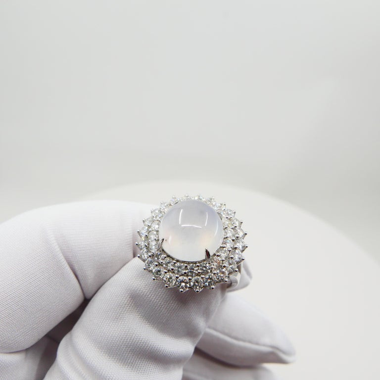 Important Certified Natural Type A Icy Jade and Diamond Cocktail Ring For Sale 4