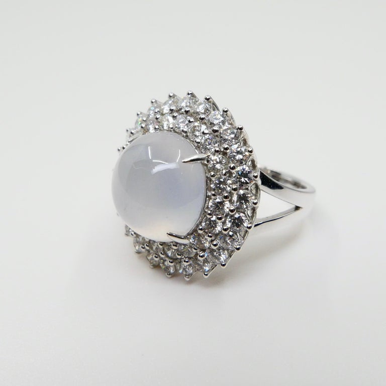 Important Certified Natural Type A Icy Jade and Diamond Cocktail Ring For Sale 5