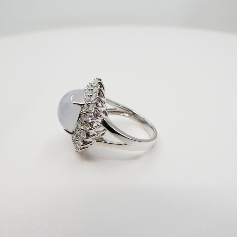Important Certified Natural Type A Icy Jade and Diamond Cocktail Ring For Sale 7